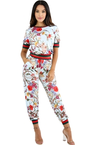 BY62071-5 Light Blue Red Floral Print Two Piece Jogger Set